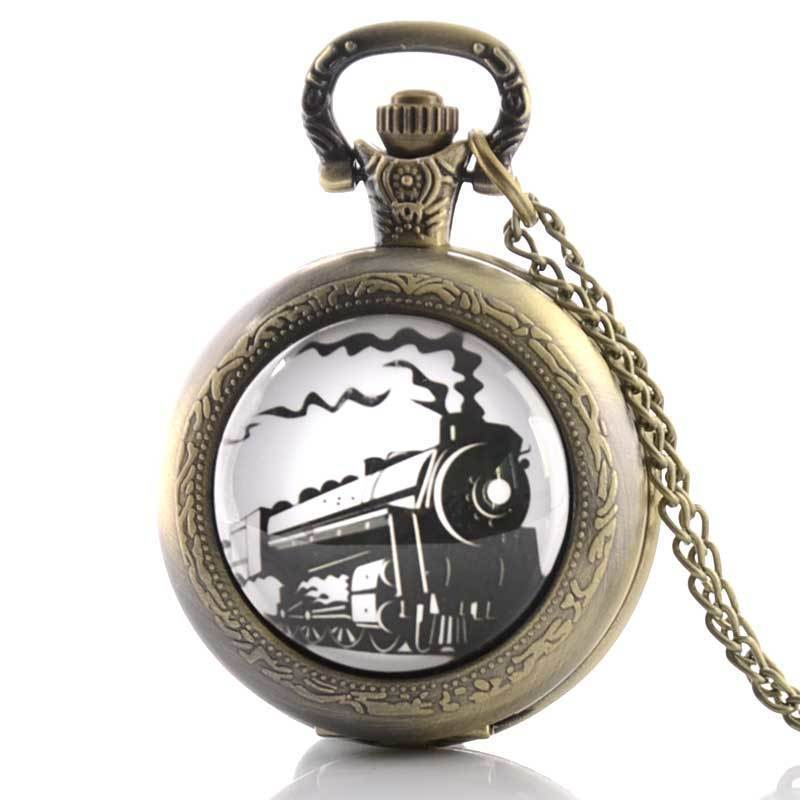 IBEINA Train Steamer Steam Engine  The Industrial Revolution Theme Full Hunter Quartz Fob Retro Pendant Pocket Watch Chain Gift