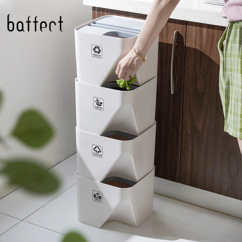 Cuisine poubelle poubelle empilée tri poubelle ménage sec et humide séparation poubelle poubelle pour salle de bain 1pc