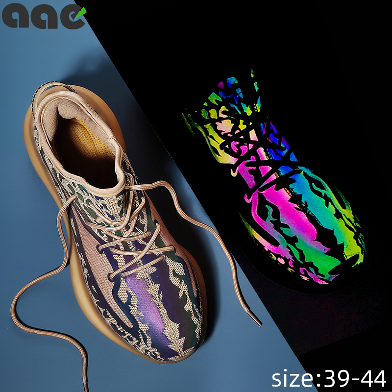 2020 NEW Trend Men's Casual Shoes Chameleon Luminous Reflective Colorful Glare Night Running Shoes Breathable Zapatos De Hombre