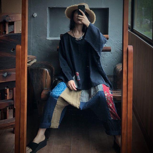 Women Linen  Patchwork Plus Size Blouse Tops Ladies Vintage Flax Spliced Oversize Shirts Female 2020 Summer Autumn Blouses 5