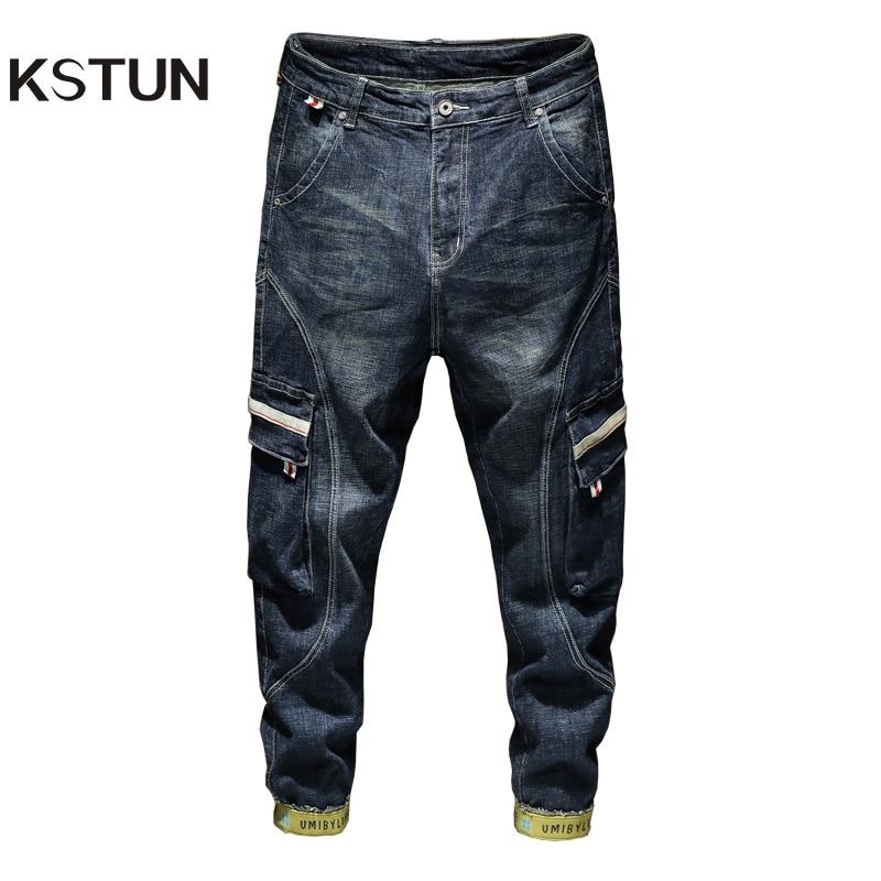 KSTUN Fashion Harem Jeans Men Streetwear Blue Stretch Haren Pants Side Pockets Moto Biker Jeans Demim Loose Feet Pants Joggers