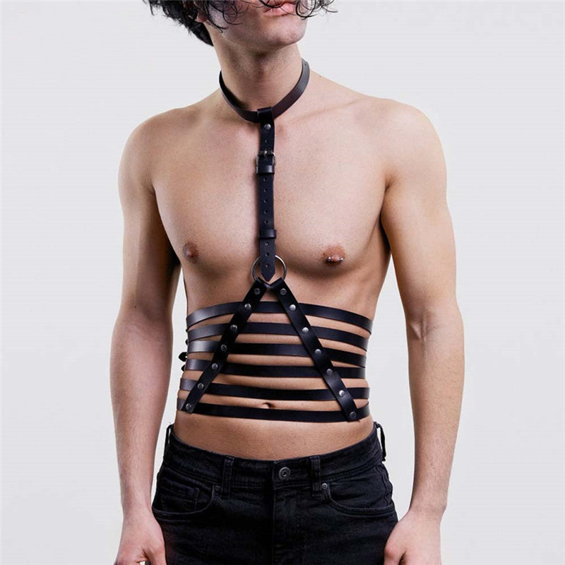 Fetish Men Chest Gay Harness Sexy Leather Body Cage Bondage Tops Men Harness Belt Strap Punk Rave Costumes For Adults Sex Games