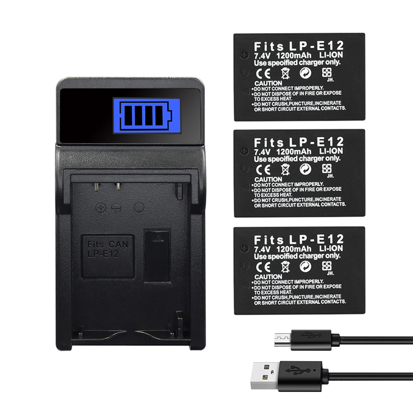 LP-E12 <font><b>Battery</b></font> for <font><b>Canon</b></font> Rebel SL1 <font><b>100D</b></font> Kiss X7 EOS-M EOS M M2 EOS M10 M50 M100 Camera <font><b>Batteries</b></font> Charger LPE12 E12 1200mAh image