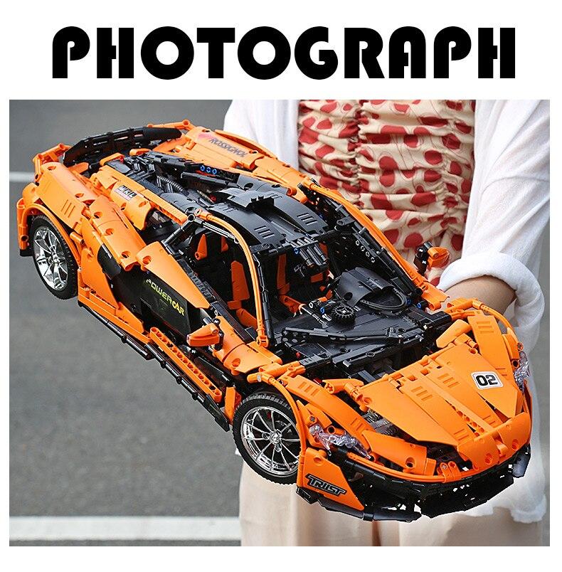 1 to 8 ratio 13090 Technic Series McLaren P1 Orange Racing Car Set APP RC Model Building Blocks Power Motor Function Toys 20087 37