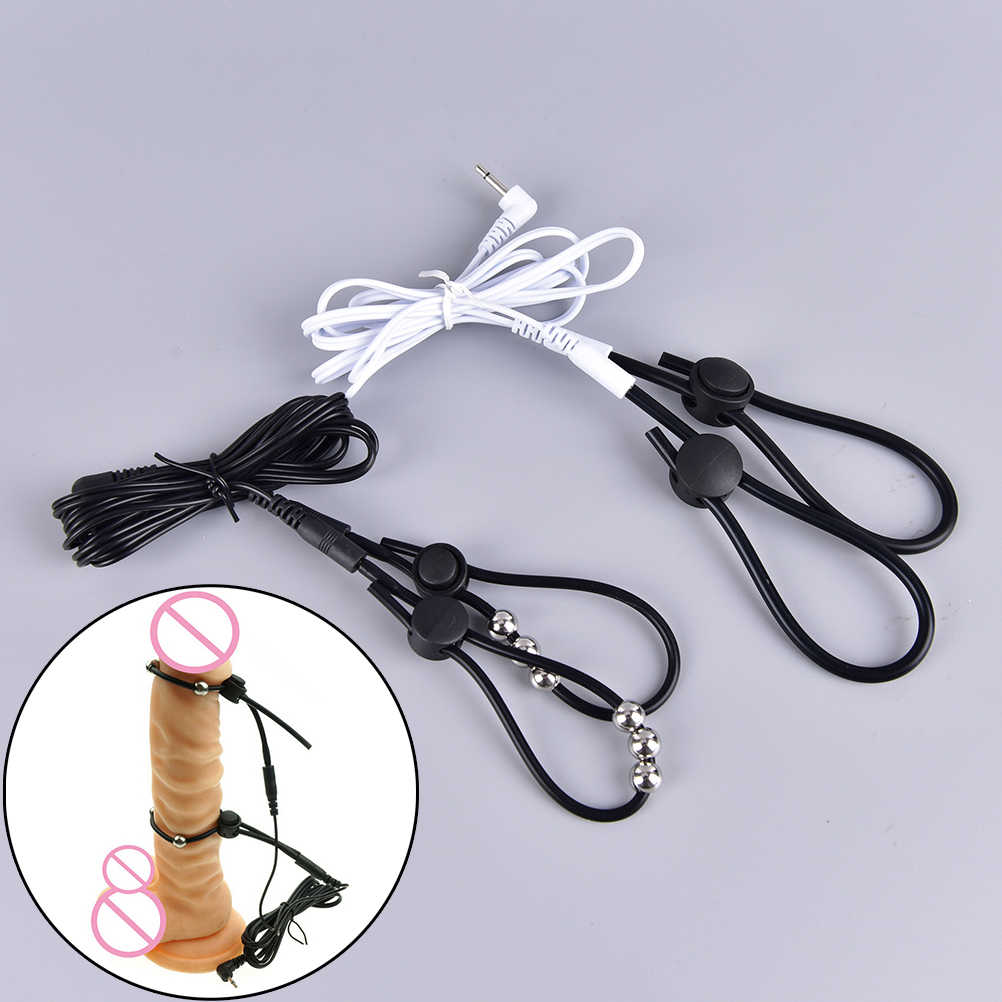 Electro Penis Ring Rubber Tube TENS Electrodes Medical Loops E-Stim Monopolar Conductive Loops Cock Rings Ball Penis Rings