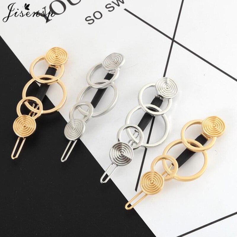 Jisensp mujeres de aleación de Metal geométrico redondo Clip para el cabello minimalista círculos horquillas Cola de Caballo Abrazadera para regalo de joyería de todos los días