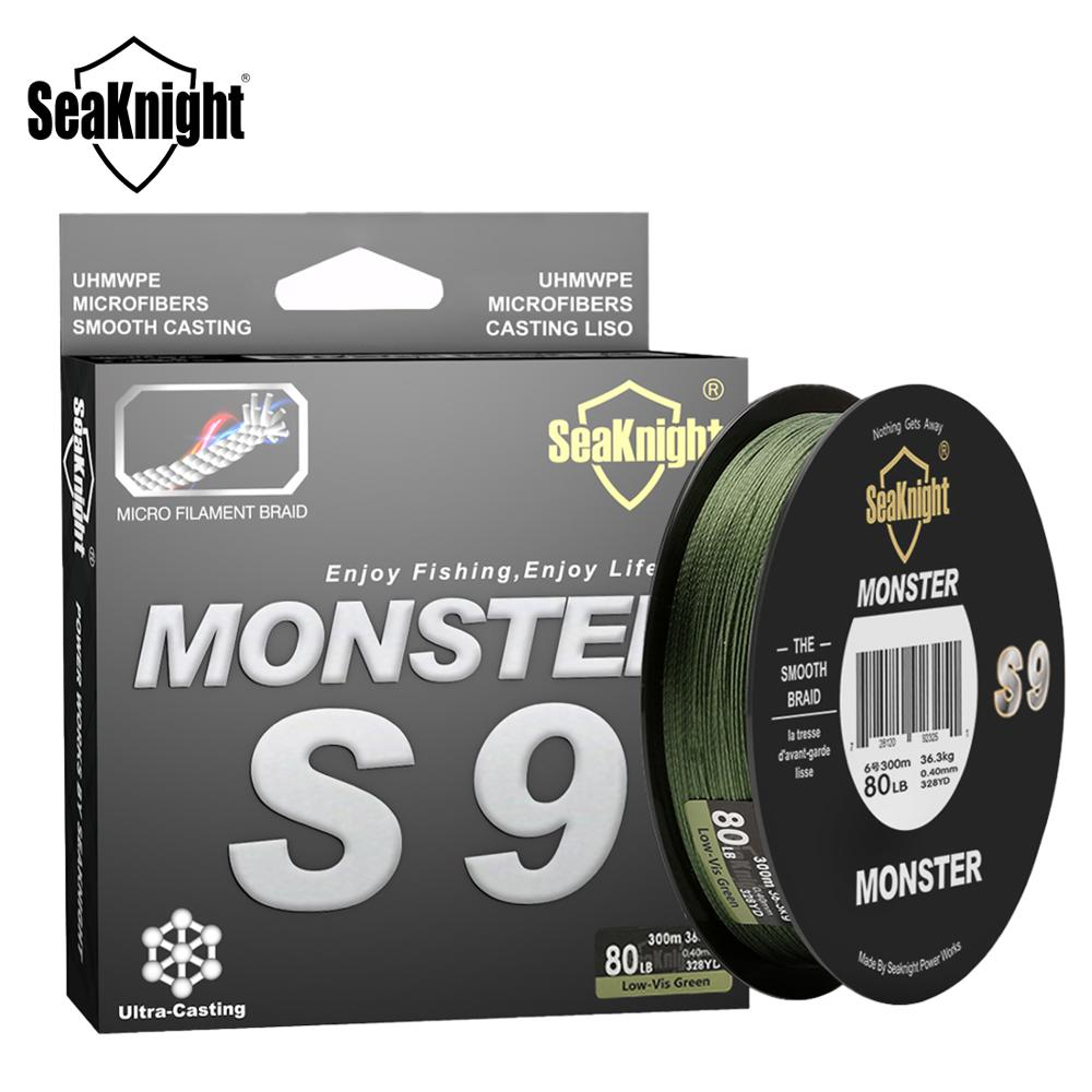 SeaKnight Monster S9 300M PE Fishing Line 9 Strand Reverse Spiral Tech Multifilament Strong Carp Fishing Line 20 30 40 80 100LB