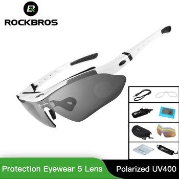 RockBros Gepolariseerde Fietsen Zonnebrillen Outdoor Sport Fiets Bril Mannen Vrouwen Bike Zonnebril 29g Bescherming Eyewear 5 Lens