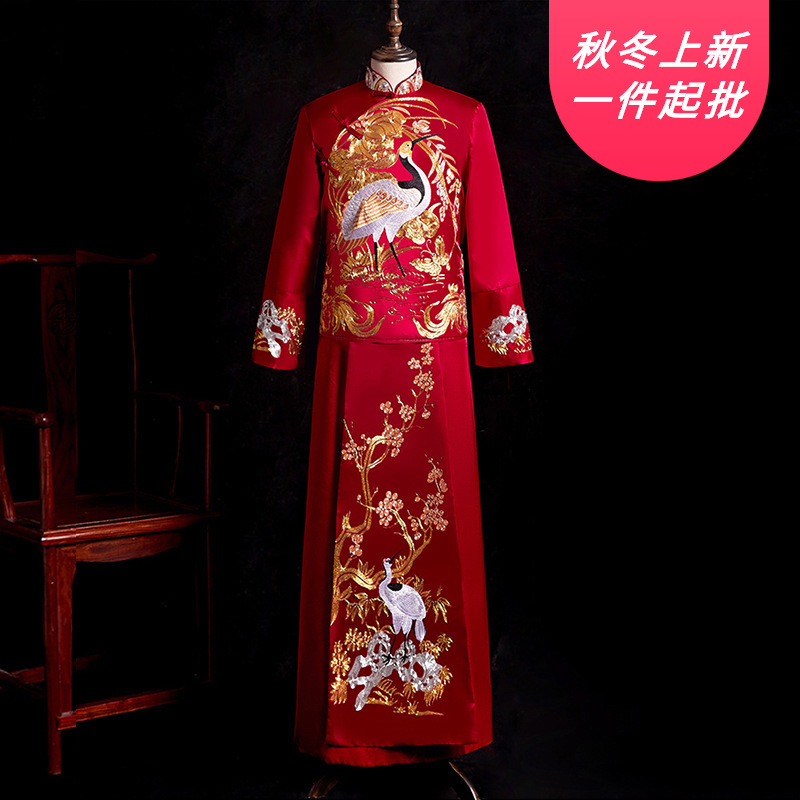 2020 Chaquetas Largas Para Hombre Boda A New Batch Of 2020 Wedding Xiuhe Suit Men's Wear Xi Men Groom Toast Under Chinese Style