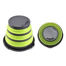 Cubo plegable portátil, contenedor de cubo de agua con mango resistente para senderismo, Camping y aire libre, 4/10L