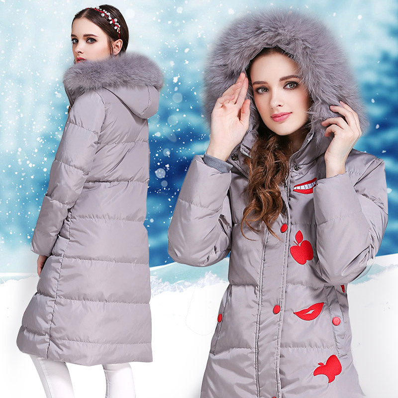 Down Style Chinese Jacket Woman Hooded Winter Long Coat Women Fox Fur Collar Parka Ladies Coats Chamarras De Mujer KJ648 S
