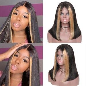 Image 5 - 13x4 dantel ön peruk kadınlar için vurgulamak dantel ön Bob İnsan saçı peruk brezilyalı düz dantel Frontal peruk Ali Julia çizgiler peruk