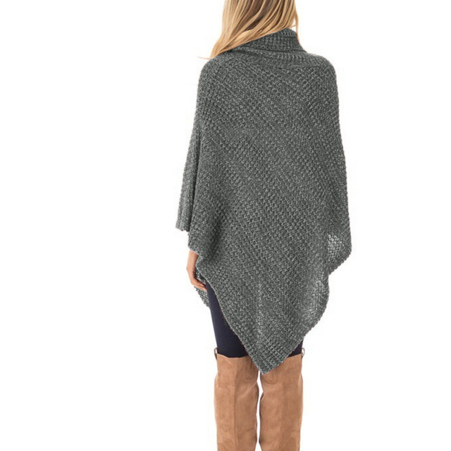 Women's Knitted High-neck Buttons Irregular Hem Pullover Sweaters Bottom Wear Loose Sweaters Warm And Comfortable 10