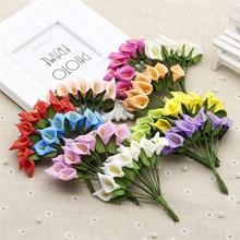 12 pcs Mini Foam Calla Handmade Artificial Flower Bouquet Wedding Decoration Gift Box Scrapbooking craft Fake flower