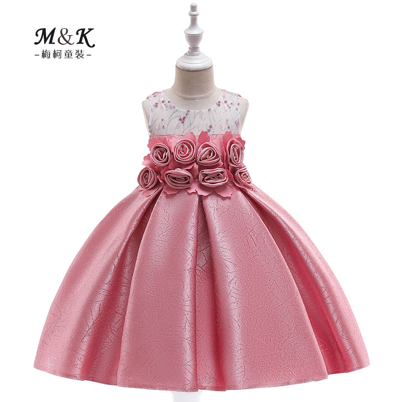 2019 New Style Tube Top Embroidery Formal Dress Handmade Order Flowers Wedding Dress Princess Dress Girls Catwalks Formal Dress