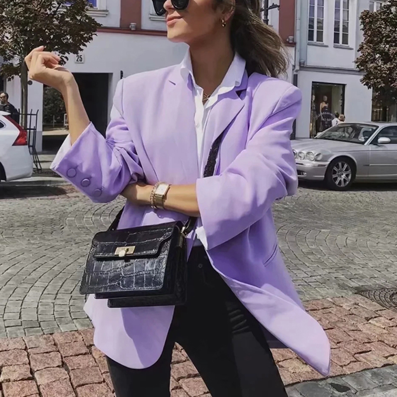 Elegant Women Purple Blazer Jackets 2020 Fashion Ladies Notched Collar Suits Coat Casual Female Long Sleeve Blazer Girls Chic