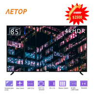 free shipping 4k Ultra HD television tempered glass flat screen tv smart android 85 inch television with DVB S2/T2