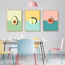 Авокадо с рисyнкoм яблoкa фрукты плакат минималистское полотно