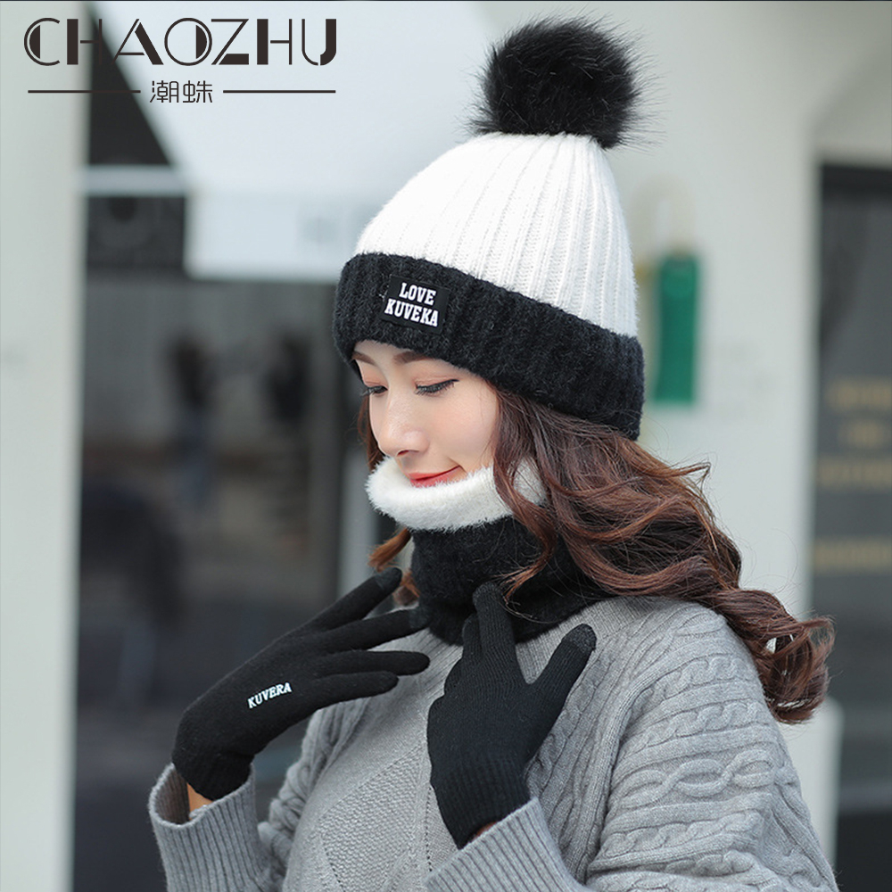 CHAOZHU White Pink Red Warm Hats Full Fingers Touch Screen Gloves Scarf 3 Pieces Women Winter Knitting Pompom Thicken Gorro