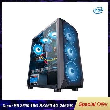 Intel Собранный настольный компьютер Intel Xeon E5-2650 8-ядерный/RX560 4G/8G/16G RAM 256G SSD дешевый игровой высокопроизводительный DIY ПК