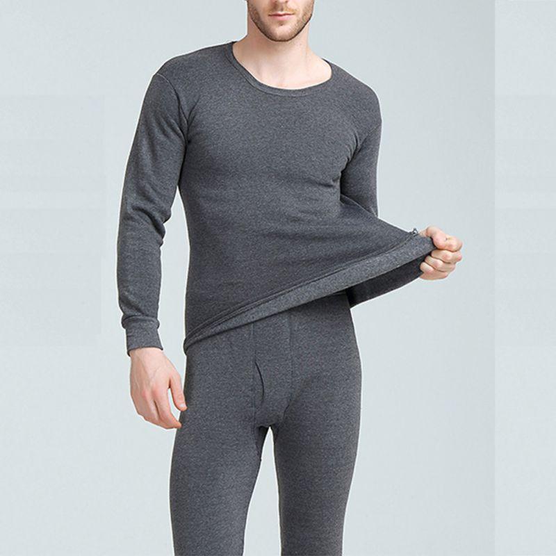 Men's Winter Warm Thermal Underwear Sets Men's Underwear Thick Thermal Underwear Black Gray Navy Dark Gray 3XL