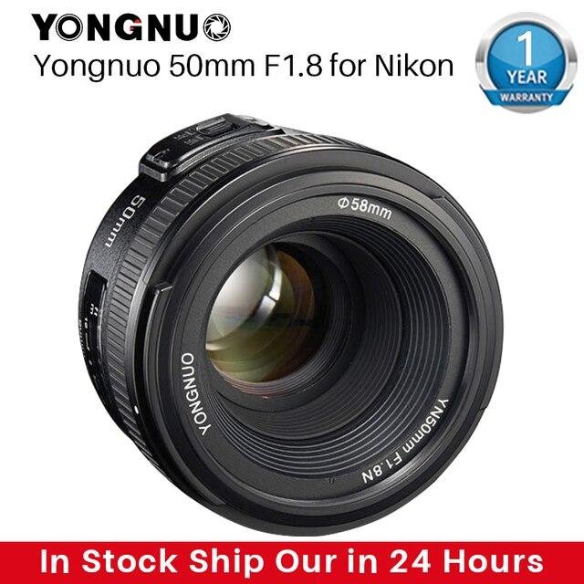 YONGNUO YN50MM F1.8 카메라 렌즈 Nikon D800 D5100 D5200 D5300 용 대형 조리개 AF MF DSLR 카메라 렌즈 Sony ZV 1 RX100 VII 용