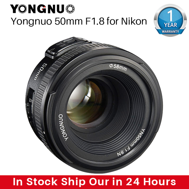 YONGNUO YN50MM F1.8 kamera Nikon için Lens D800 D5100 D5200 D5300 büyük diyafram AF MF DSLR kamera Lens için Sony ZV 1 RX100 VII
