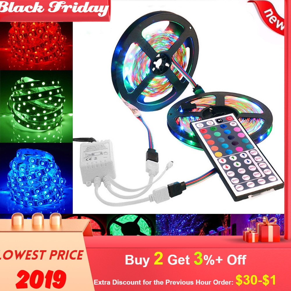 10m 3528 Smd Rgb 600 Led Strip Light String Tape+44 Key Ir Remote Control Colour Change 5050 Led Light Strip New