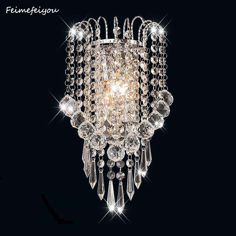 E14 Modern K9 Crystal Mirror Stainless Steel Wall Lights Wall Lamps Sconce Fixtures Lights For Hallway Bedside Living Room