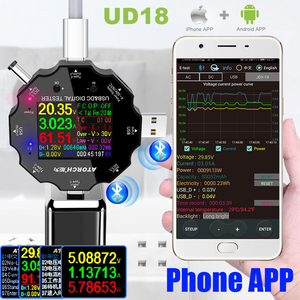 Image 2 - UD18 Voor App Usb 3.0 Type C Pd DC5.5 5521 Voltmeter Ampèremeter Voltage Current Meter Batterij Meten Kabel weerstand Tester