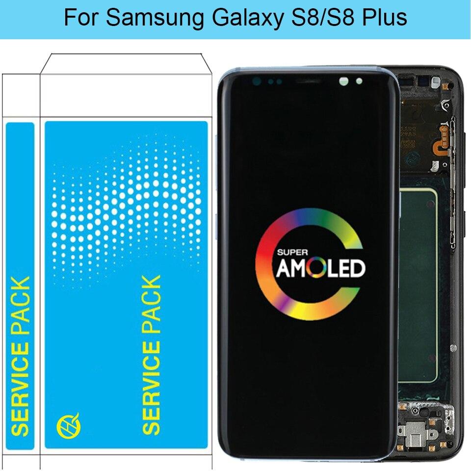 Оригинальный ЖК дисплей S8 для Samsung Galaxy S8 Plus, ЖК дисплей с рамкой AMOLED S8 G950F G950A, экран S8 Plus G955F G955A, ЖК дисплей
