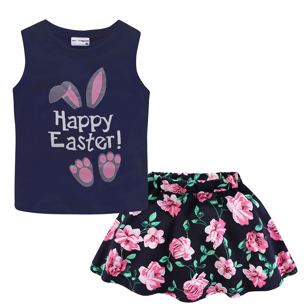 Mudkingdom Girls Clothes Set Love Summer Kids Tank Top and Skirt Outfit Children Cute Suits Fashion Happy Holiday Easter 5