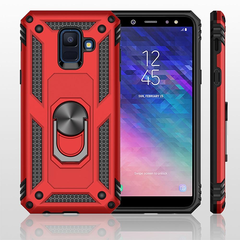 Para Samsung Galaxy J6 A6 2018 J600F / J6 J4 Plus J610F Prime Caso Dual Layer Armadura Militar Caso Magnético anel Fique Capa Dura