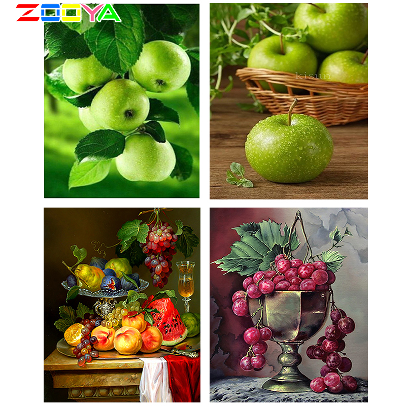 ZOOYA Home Decor Diamond Embroidery 3d DIY Diamonds Painting Hobby Mosaic Pictures Wall Sticker Fruit Green Apple Gifts RF1214