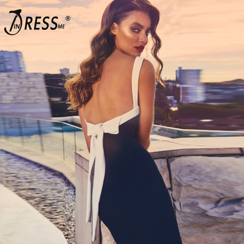 New Fashion Women Party Elegant Vestidos Sexy - White Strap, Backless Lace Up Bow, Black Knee-Length Bandage Dress 1