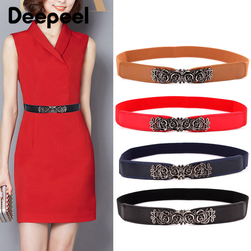 Deepeel 1pc 2.5cm*65cm Rose Imitation Leather Retro Buckle Elastic Webbing Cummerbunds For Women Elastic Band Stretch Belt
