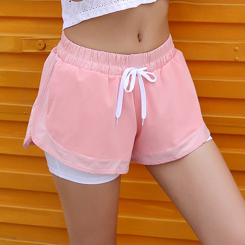 Spring And Summer New Sports Women Fitness Running Lady Shorts Fake Two Mesh With Pocket Shorts Breathable Anti-glare