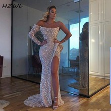 Aso Ebi Sparkly Sexy Prom Dresses High Split Sequined One Shoulder Mermaid Evening Dress Dubai Formal Party Gowns Vestidos