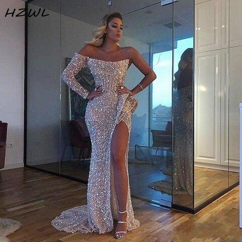 Vestidos de Baile Vestido de Noite Vestidos de Festa Sparkly Sexy Alta Divisão Lantejoulas um Ombro Sereia Dubai Formal Aso Ebi