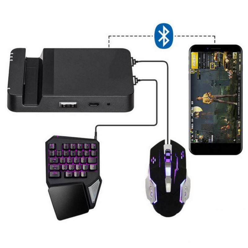 Professional Mobile Phone Game Controller Dual USB Ports Mouse Keyboard Kit Battledock Converte