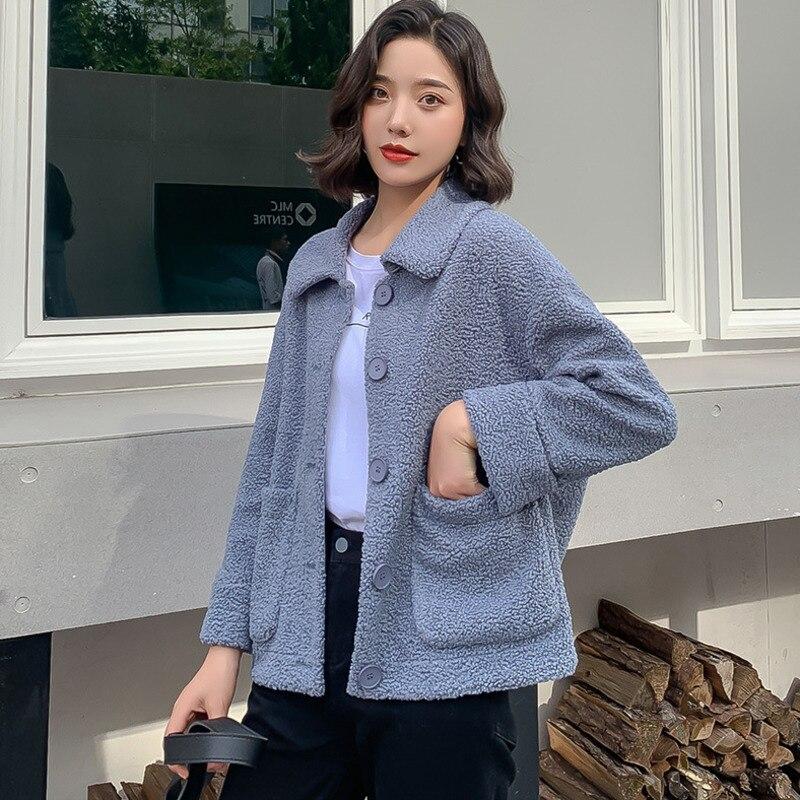 Élégant couleur unie veste femmes mode 2019 automne hiver simple boutonnage épais chaud manteau doux court vestes femme - 6
