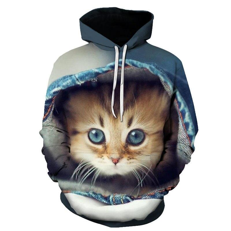 Women's Two Cat Sweatshirts Long Sleeve 3D Hoodies Sweatshirt Pullover Tops Blouse Pullover Hoodie Poleron mujer Confidante Tops 63