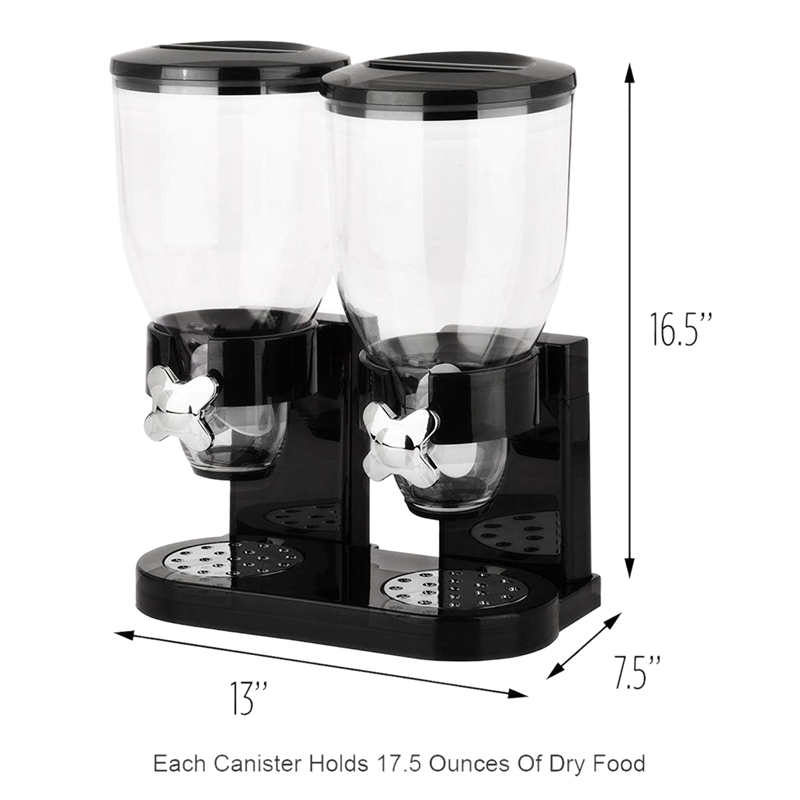 Double Chamber Airtight Cereal And Dry Food Dispenser With Built In Spill Tray For Home, Kitchen, Countertops, Breakfast, Pets,
