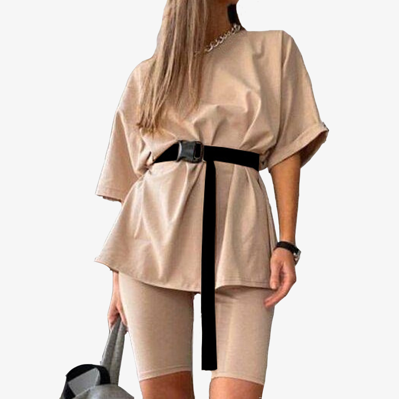 Casual Solid New Women's Two Piece Suit Including Belt Solid Color Home Loose Sports Fashion Leisure Suit Summer 2020 2piece Set