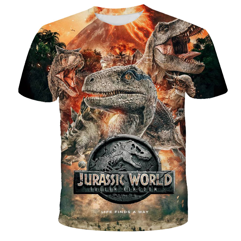 Jurassic Park T Shirt Child Dinosaur Printed 3D Print T-Shirt Casual Lovely Tops Jurassic World Tees Children Boy Girl Clothes
