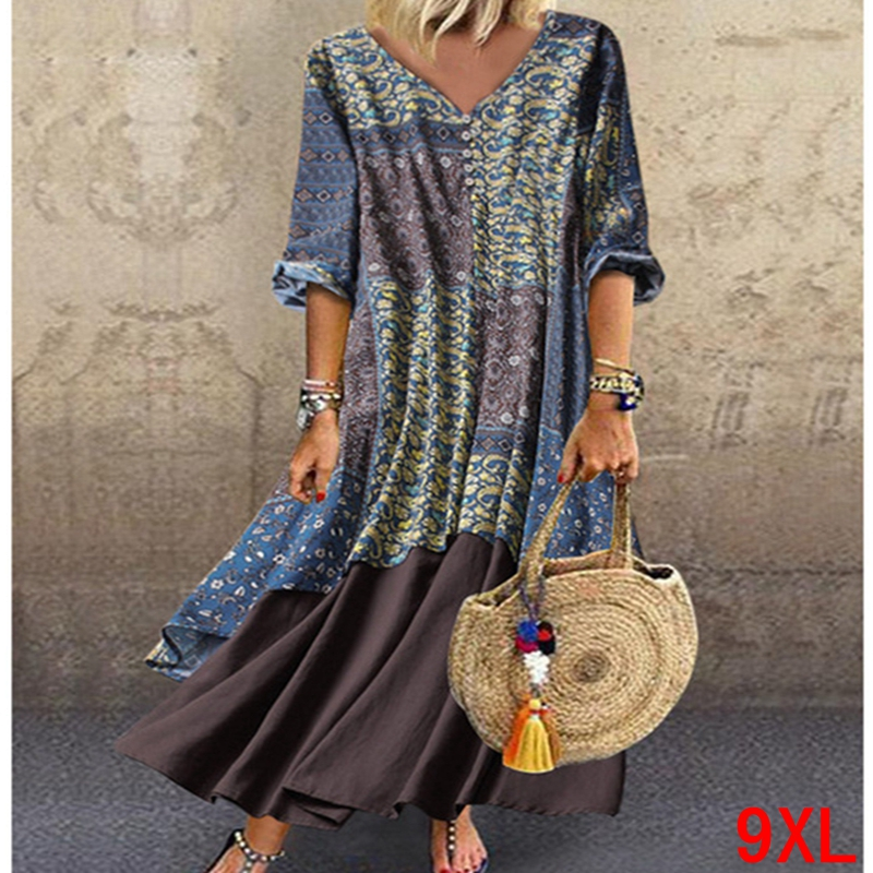 Large size women's dress cotton and linen print plus size <font><b>5XL</b></font> <font><b>6XL</b></font> <font><b>7XL</b></font> <font><b>8XL</b></font> <font><b>9XL</b></font> summer V-neck long sleeve loose blue dress image