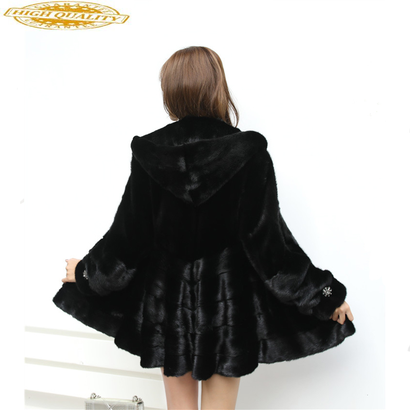 Luxury Natural Mink Fur Coat Female Jacket 2020 Winter Jacket Women Hooded Long Fur Coats And Jackets Women Outwear 4xl