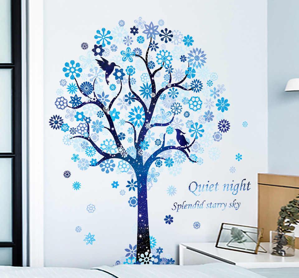 6 grand beau bleu Constellation Stickers muraux pour enfants chambre filles chambre chambre décor fleur arbre mur décalcomanie rêve 60*90CM