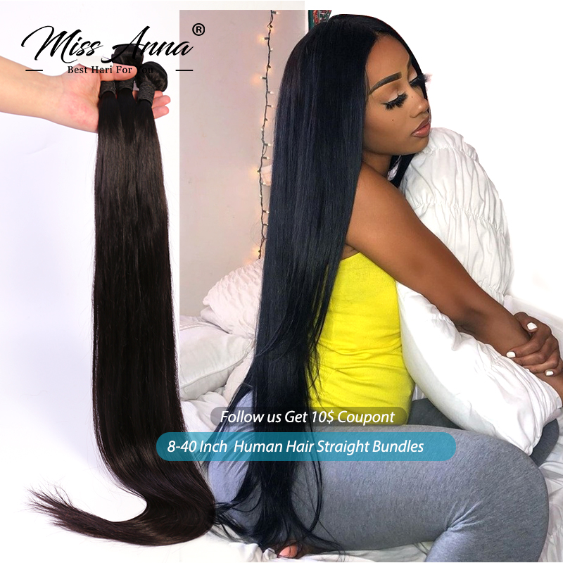 MissAnna Peruvian Human Hair Weave Bundles Straight 8-30 Inch Natural Color 1/3/4PCS 100% Remy Human Hair Weave Bundles