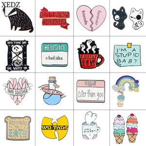 XEDZ New fashion personality bread ice cream ticket vulture puppy love medicine bottle brooch badge collection denim clothing ba(China)